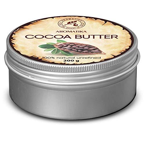 Cocoa Mantequilla 200g Sudáfrica–Manteca de Cacao unraf finiert–Native pura y natural Manteca de Cacao–para cuidado de Labios–Stretch–Vello corporal Marks–Mantequilla, caja de aluminio