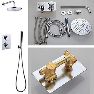 Badezimmer-Duschset, Wandmontage, rund, 20,3 cm, Regendusche, Handbrause, massives Messing, verchromt