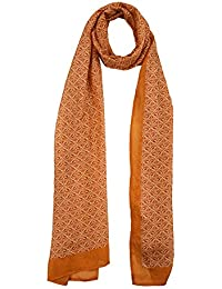 Chokore Printed Off White & Orange Silk Stole For Women