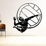 DECOR Kafe Home Decor Boy Hits VolleyBall Wall Sticker, Wall Sticker For Bedroom, Wall Art, Wall Poster (PVC Vinyl, 60 X 63 CM)