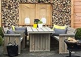Gartenmöbel Set 'Danish Design', Gartentisch 160 x 85 cm + Gartenbank 150 cm + 2 Gartenstühle, Kiefernholz, grey wash gebeitzt, verwittertes Aussehen