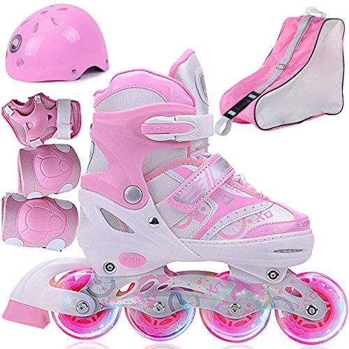 WANG-L Rollerblades Mädchen Einstellbare Rollschuhe Kinder Jungen Atmungsaktiv Inline Skate Für Anfänger Kleinkinder Kind Flash Rad Schutz Set,Pink-S