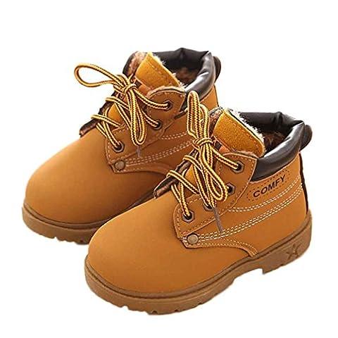 TPulling Soft Winter Plus-Baumwolle Abschnitt Kind Army Style Martin Tendon am Ende Stiefel Warm Schuhe (24, Gelb)