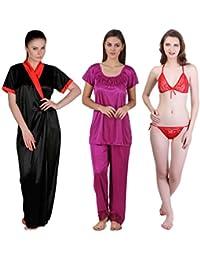 Freely Satin Full Robe, Nightsuit & Lingerie Set