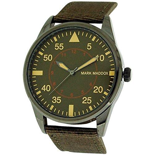 Mark Maddox Gents Green Dial, Silvertone Case & Brown PU Strap Watch HC0006-64