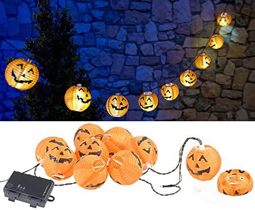 PEARL Lichterkette-Hängedeko: LED-Lichterkette mit 10 Lampions im Halloween-Kürbis-Look, Timer, IP44 (Lampion-Lichterkette Batterie)