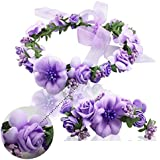 Mori chica fotografiada accesorios para el cabello flor guirnalda nupcial tiara la playa boda accesorios flores pulsera guirnalda del carpo con guirnalda,purple suit