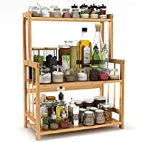 Tribesigns 3 Tier Spice Herb Rack Holder Free Standing with Adjustable Height, Bamboo Kitchen Countertop Organizer for Spice Jar and Bottle Storage