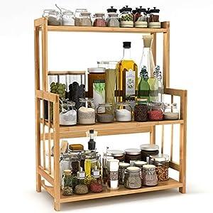 Tribesigns Gewürzregal Küchenregal Gewürz-Ständer aus Bambus mit 3 Etagen für die Küche (Arbeitszimmer, Badezimmer, Wohnzimmer)