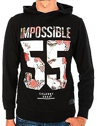 Sweat à capuche noir imprimé fleurs Rouge dans IMPOSSIBLE 55 de la marque CELEBRY TEES