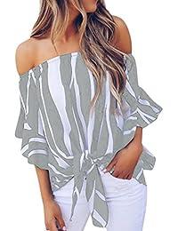 64d7f1139c35 Dragon868 Damen Frauen Bluse 2018 Mode Kurzarm Casual T Shirts Tops Striped  Off Schulter Tie
