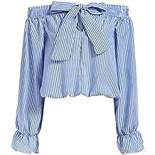 ROPALIA Damen Schulterfrei Shirt Langarm Gestreift Tops Bluse