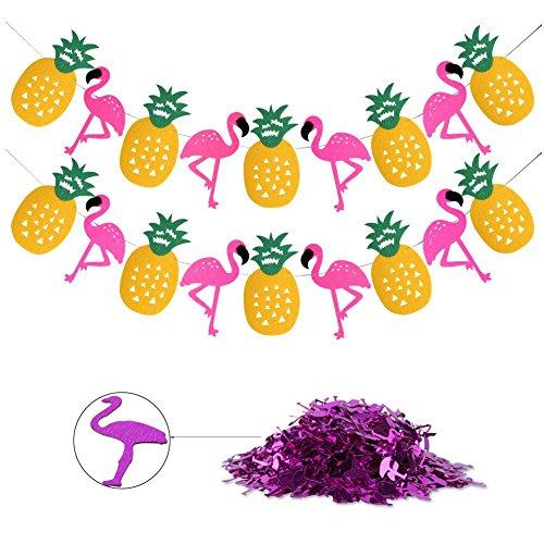 u Party Supplies, 2Saiten Tropical Party Girlande banners-pink Flamingo Ananas mit Flamingo Konfetti, 0,5oz für Summer Holiday/Pool Party, Baby Dusche/Luau Party Dekoration ()