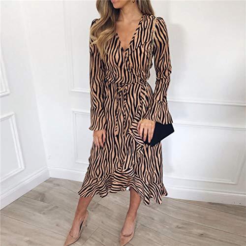 DELI Sommer Lange Kleider Frauen Zebra-Print Strand Chiffon-Kleid Casual Langarm V-Ausschnitt Rüschen Elegante Party Kleid -