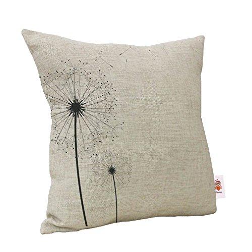 Nunubee federa morbido con cerniera decorativa cuscino in lino cotone per la casa divano letto auto 45*45cm/17.55*17.55inch,löwenzahn