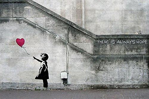 """Banksy Ballon La niña del globo """" Siempre hay esperanza """" XXL papel pintado decoración de la pared decoración by GREAT ART (210 x 140 cm)t"""