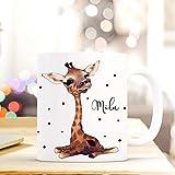 Tasse Becher mit Giraffe Punkten & Wunschname Kaffeebecher Name Geschenk Namenstasse ts610 ilka parey wandtattoo-welt®