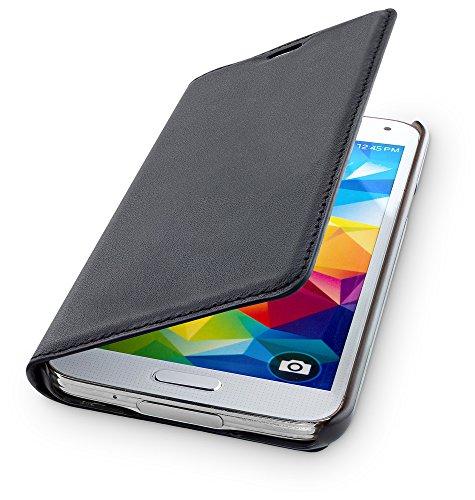 WIIUKA Echt Ledertasche - TRAVEL - kompatibel mit Samsung Galaxy S5 mit Kartenfach Schwarz extra Dünn Premium Design Leder Hülle