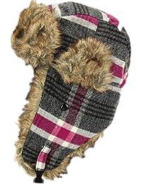 Caldo Colbacco invernale Cappello Tartan con finta pelliccia – Rosa O Grigio 4c74b2fdb728