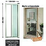 Zanzariera a rullo in alluminio per porte/balconi con profilo riducibile/regolabile avvolgimento orizzontale 150x250cm Bianca