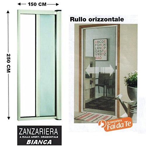 Zanzariera a rullo in alluminio per porte/balconi con profilo riducibile/regolabile avvolgimento orizzontale...