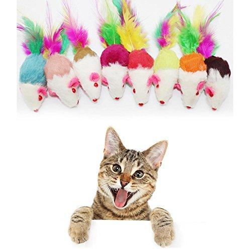 Tonsee Katzenspielzeug 1PCS Fell-Mäuse Melody Chaser, aus flauschigem Plüsch (zufällige Mischung Haarfarbe) (Multicolour) (Ramie-mischung)