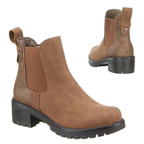 Damen Schuhe, H356, STIEFELETTEN Camel
