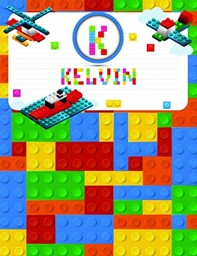 Kelvin: Primary Composition Notebook Story Paper Journal Gifts with Personalized Initial Name & Monogram for Kids (Boys) Dashed  Midline / Dotted and ... Exercise Book (Block / Brick Games Design)