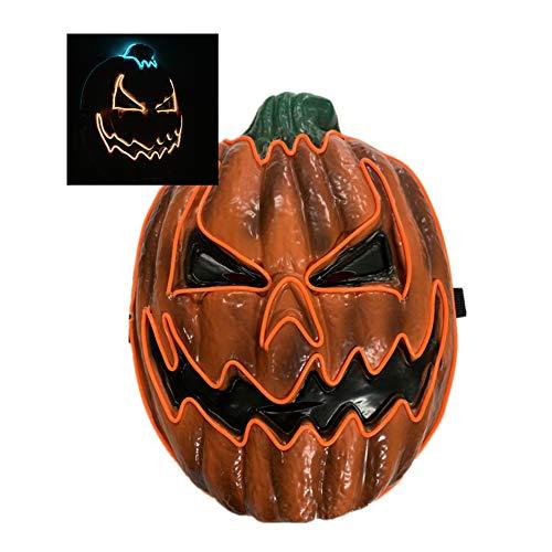Körper Kostüm Stück Ein Voller - Halloween Maske, Gruselige Kürbis Licht Cosplay Karneval Party Power Batterie, LED Licht Horror Fun Maske Horror Glowing Dark El Line Maske Cosplay, Maskerade, Party,Doublelight