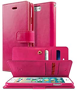 """iPhone 7 PLUS Case, [Extra Card & Cash Slots] GOOSPERY Mansoor Diary Three Sided Wallet Case [Anti-Slip] PU Leather Cover [Shock Absorption] TPU Casing for iPhone 7 PLUS (5.5""""), Hot Pink"""