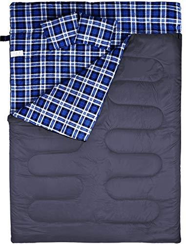 FYManny Saco de Dormir Doble con 2 Almohadas. Extragrande 220 x 150 cm. para 3 Estaciones, Acampadas, Festivales y Trekking