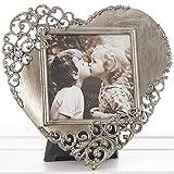 WATSONS rustique en filigrane en dentelle en forme de cœur sur pied photo/cadre photo–en étain