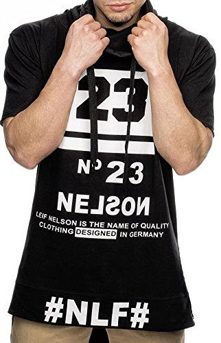 LEIF NELSON Herren T-Shirt Long mit Rei§Verschluss Sweat Sweatpullover Zipped; Größe S, Schwarz | 04250863640622