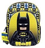 Rucksack–Lego Film–Batman Figur schwarz/gelb 40,6cm Schulranzen lbcf01