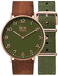 Ice-Watch - CITY Oakwood - Montre marron mixte avec bracelet en cuir + bracelet nylon supplémentaire - 001363 (Medium)