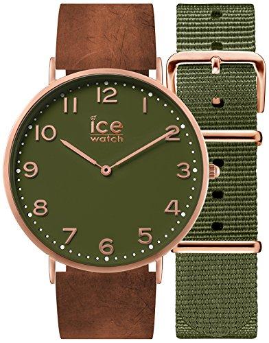 Ice-Watch - CITY Oakwood - Montre marron mixte avec bracelet en cuir + bracelet nylon supplémentaire - 001363 (Medium)