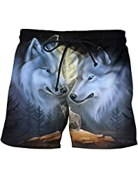 9be84957d5 Blwz Pantalones Cortos de Playa para Hombre Pantalones con Estampado de  Fiesta de Tres Lobos de