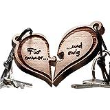 Herz Puzzle Echtholz Schlüsselanhänger 2-teilig - vorgraviert mit Text: Für immer ... und ewig