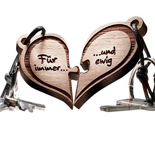 *Herz Puzzle Echtholz Schlüsselanhänger 2-teilig – vorgraviert mit Text: Für immer … und ewig*