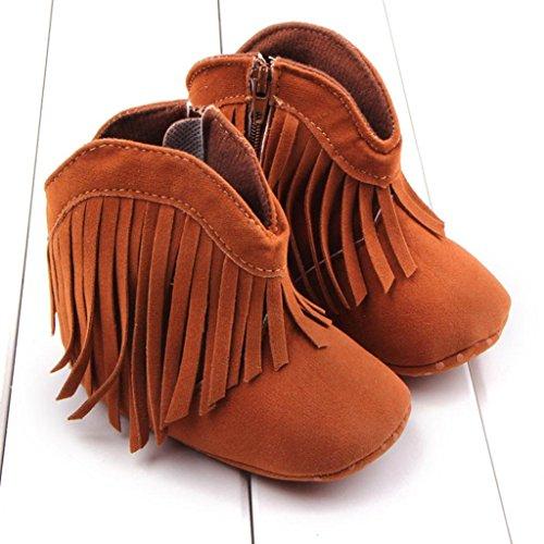 Neugeborenes Tefamore Prewalker Babymädchen Sohle Weiche Schuhe Braun Quaste Kind Kleinkind Stiefel qRRw1E