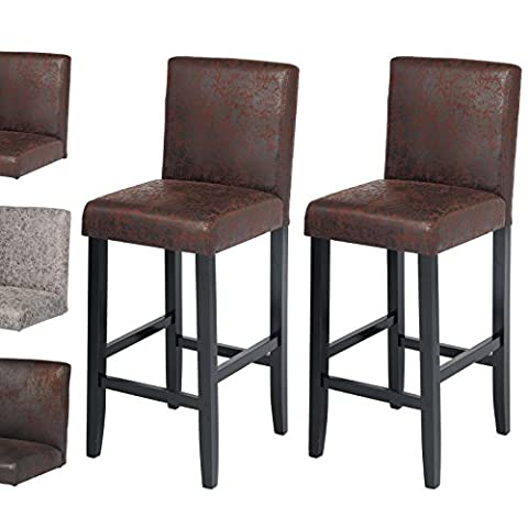 WOLTU BH38dbr-2-a 2 x Retro Bar Stools Chairs Vintage Faux Leather Breakfast Chairs Solid Wood Bar Counter Chairs / Dark