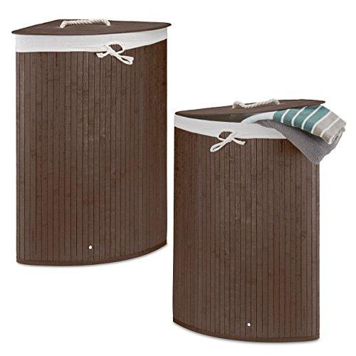 2 x Eckwäschekorb im Set, Wäschetrennsystem aus Bambus, Wäschesammler mit herausnehmbarem Wäschesack, je 64 L, braun
