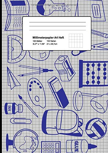 Millimeterpapier A4 Heft: Mathematisches Papier (1mm) perfekt zum Auftragen von Punkten rechtwinkligen Koordinaten und Flächen, Kreisen, Segmenten, Tangenten uvm. Doppelseitig