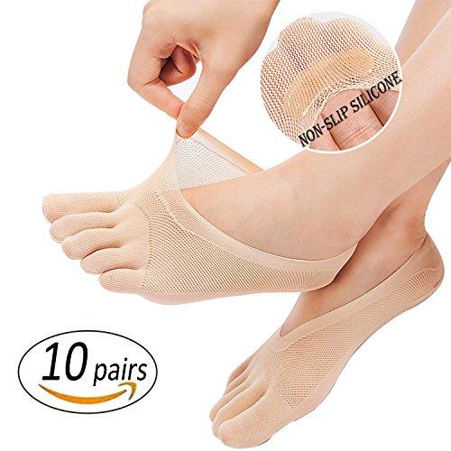 REKYO 10 Paare Frauen Zehen Socken fünf Finger Socken weich und atmungsaktiv Low-Cut Ankle Socks Seidenstrümpfe für Mädchen, Frauen (Haut-10) (Cut Low Socks Schuhe)