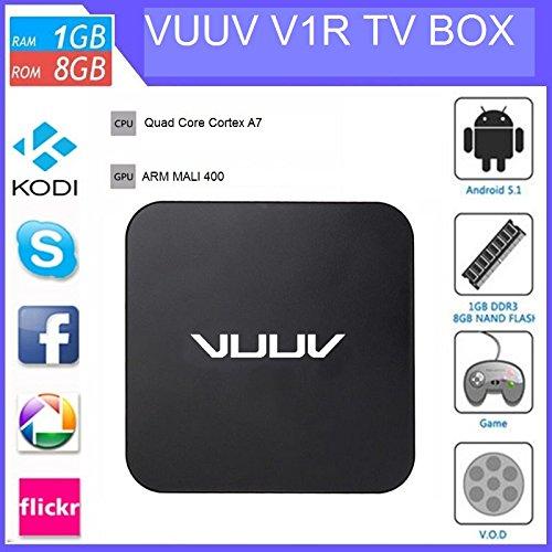 VUUV V1R Android 5.1 Smart TV Box, 4K ULTRA HD Media Player, Mini PC, IPTV , Quad Core, 1Gb Ram, 8Gb Storage, SPDIF, 4 USB Ports  available at amazon for Rs.3360
