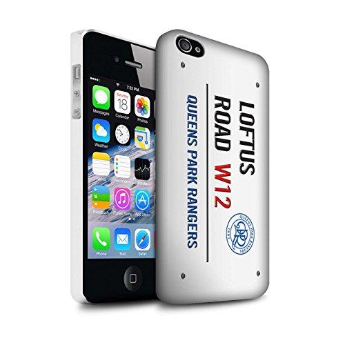 Offiziell Queens Park Rangers FC Hülle / Matte Snap-On Case für Apple iPhone 4/4S / Weiß/Gold Muster / QPR Loftus Road Zeichen Kollektion Weiß/Blau