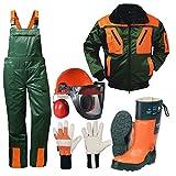 Forstschutz Set 5 teilig KWF geprüfte Schnittschutzhose + Schnittschutzstiefel +Forsthelm +Jacke