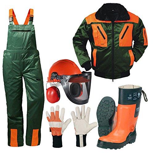 Preisvergleich Produktbild Forstschutz Set 4 teilig KWF geprüfte Schnittschutzhose + Schnittschutzstiefel +Forsthelm +Jacke