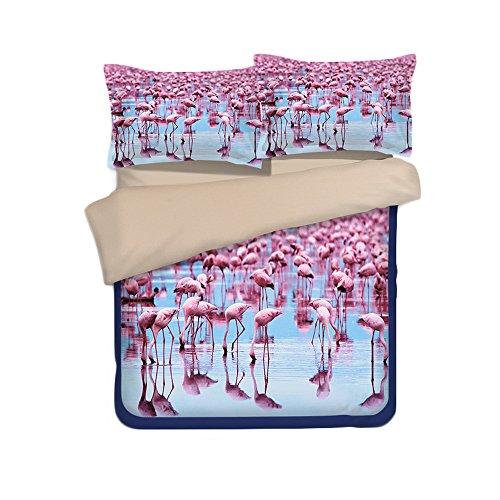 JuneJour 3 Teilig Bettwäscheset Flamingo Bettgarnitur Mikrofaser Weiche Bettwaren Kissenbezug Bettbezug