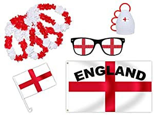 Alsino 8 tlg. WM Fanset Fanpaket England - Flagge: 90 cm x 150 cm, Autofahne, 4x Hawaiiketten, Durchmesser: 50 cm, Lochbrille & Stimmungsrassel FP-16 FP-16